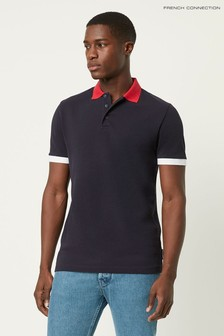 French Connection Blue Block Pique Polo