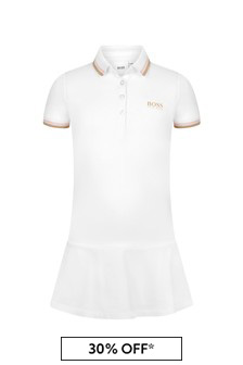 Boss Kidswear Girls White Cotton Dress