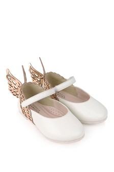 Girls White And Rose Gold Leather Shoes