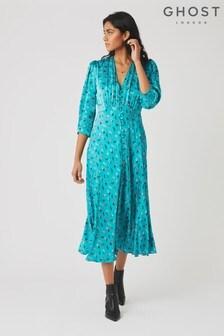 Ghost London Blue Madison Folk Print Satin Dress