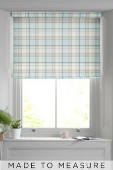Marlow Check Teal Blue Made To Measure Roller Blind