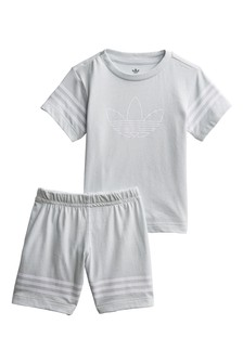 adidas Originals Infant Grey Outline T-Shirt And Shorts Set
