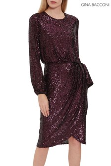 Gina Bacconi Red Pieta Sequin Dress