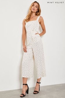 Mint Velvet White Maya Print Wide Leg Jumpsuit