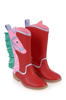 Girls Pink And Red Horse Boots