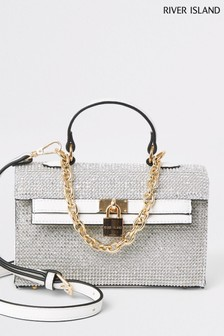 River Island White Mini Top Handle Heatseal Bag