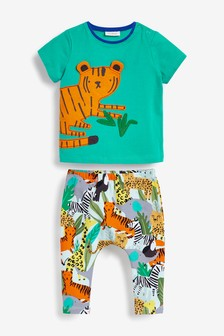 Tiger Appliqué T-Shirt And Leggings Set (0mths-2yrs)