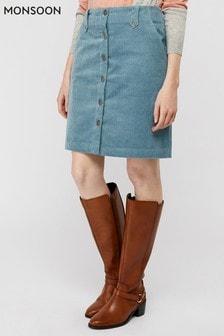 Monsoon Ladies Blue Jessica Jumbo Cord Skirt