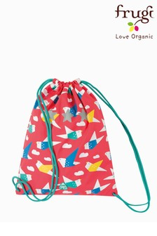 Frugi Recycled Drawstring PE Bag In Origami Bird Print