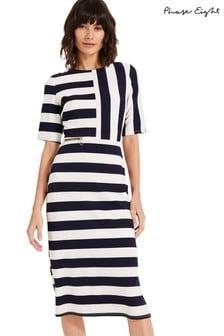 Phase Eight Blue Maryanne Stripe Ponte Dress