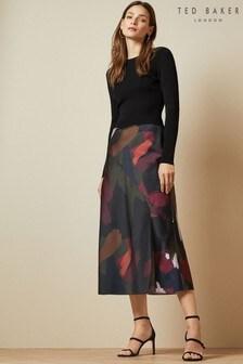 Ted Baker Black Printed Midi Dress
