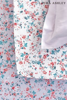 Set of 2 Laura Ashley Blossom Blossom Ditsy Floral Ruffle Organic Cotton Fitted Sheets
