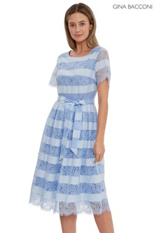 Gina Bacconi Blue Seisia Lace Tie Waist Dress