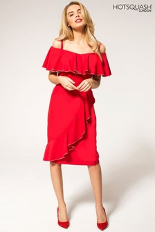 HotSquash Red Metallic Trimmed Bardot Dress