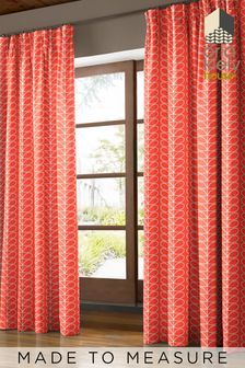 Linear Stem Tomato Red Made To Measure Curtains by Orla Kiely