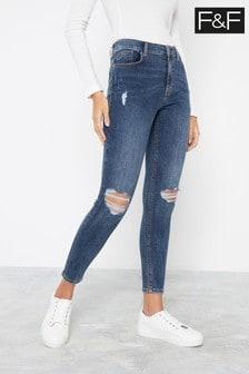 F&F Indigo Push Up Ripped Skinny Jeans