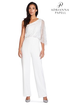 Adrianna Papell White Beaded Crepe Jumpsuit