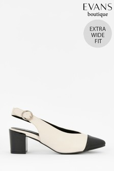 Evans White Extra Wide Fit Monochrome Slingback Shoes