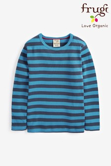 Frugi Blue GOTS Organic Long Sleeve Stripe T-Shirt