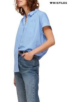 Whistles Stripe Turn-Up Short Sleeve Shirt
