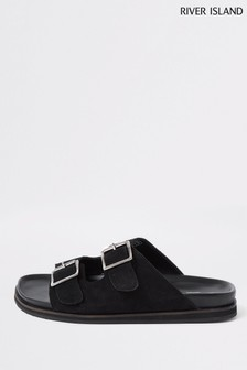 River Island Black Buckle Strap Suede Sandals