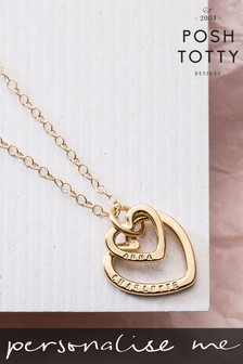Personalised Mummy And Baby Heart 18ct Yellow Gold Plate Necklace by Posh Totty Designs