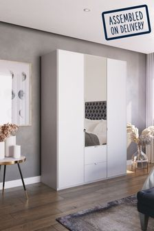 Monroe Three Door Combination Wardrobe With Mirror