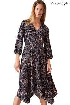 Phase Eight Blue Molly Print Dress