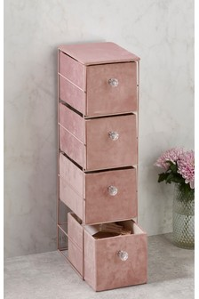 Pink Velour Drawer Unit