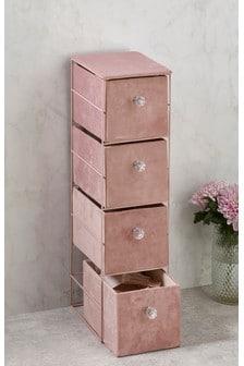 Розовый велюровый комод с ящиками