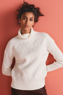 Diamond Pattern Funnel Neck Jumper