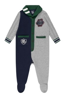 Baby Boys Navy & Grey Cotton Shawl Collar Coverall