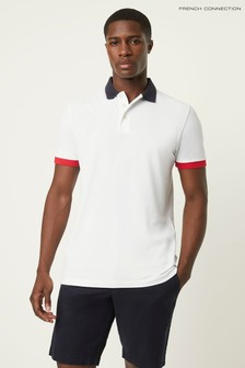 French Connection White Block Pique Polo