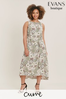 Evans Curve Multi Tile Print Sleeveless Dress