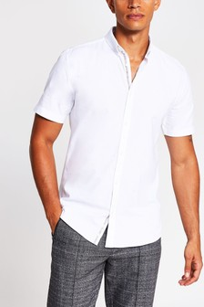 River Island White Short Sleeve Muscle Fit Oxford Shirt