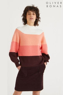 Oliver Bonas Colour Block Ribbed Knitted Jumper
