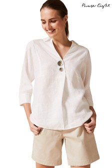 Phase Eight White Brogan Linen Shirt