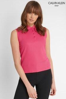 Calvin Klein Golf Pink Sleeveless Performance Cotton Blend Poloshirt
