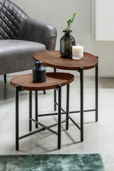 Set of 2 Smoked kidney nest of tables