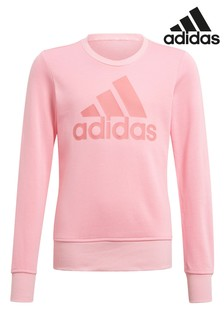 adidas Pink Logo Crew Sweat Top