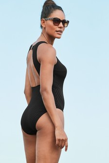 Textured High Neck Swimsuit