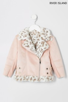 River Island Pink Suedette Aviator Jacket With Faux Fur