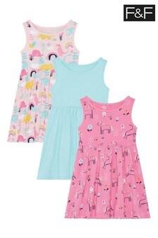 F&F Multi Vest Dresses 3 Pack