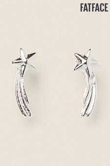 FatFace Silver Tone Shooting Star Stud Earrings