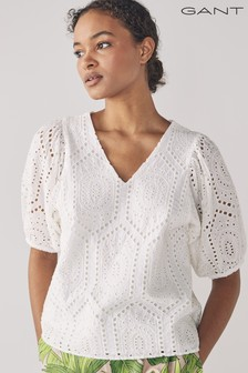 GANT Eggshell Embroidery Anglaise Top