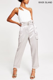 River Island Silver Milan Utility Trousers