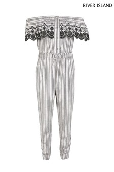 River Island White Ticking Stripe Jumpsuit