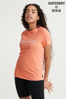 Superdry Orange Italic Writing T-Shirt