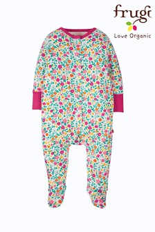 Frugi Organic Cotton Ditsy Babygrow With Integral Scratch Mitts