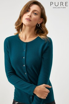 Pure Collection - Cardigan girocollo verde in cachemire